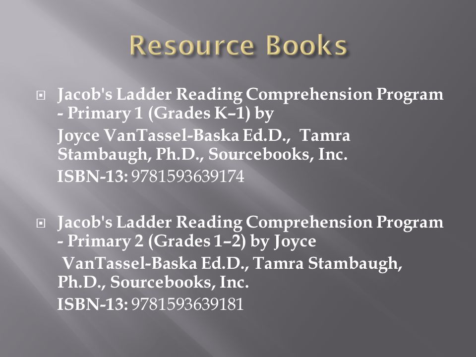 Resource Books Jacob s Ladder Reading Comprehension Program - Primary 1 (Grades K–1) by.
