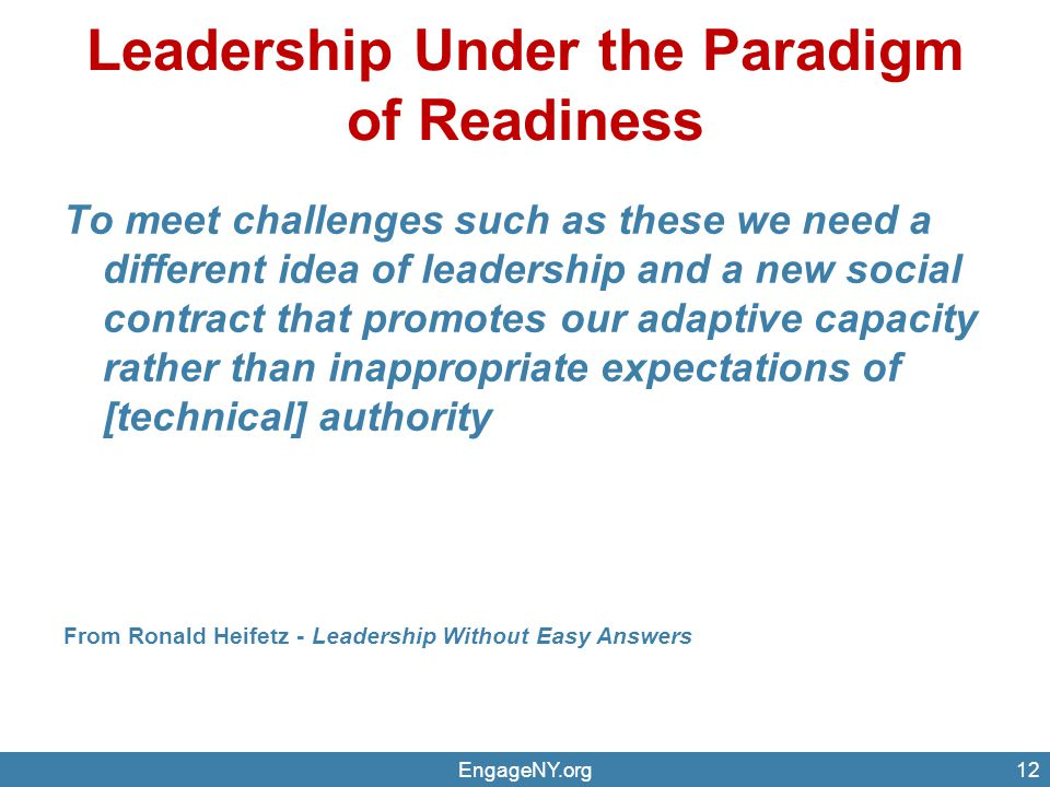 Leadership Under the Paradigm of Readiness