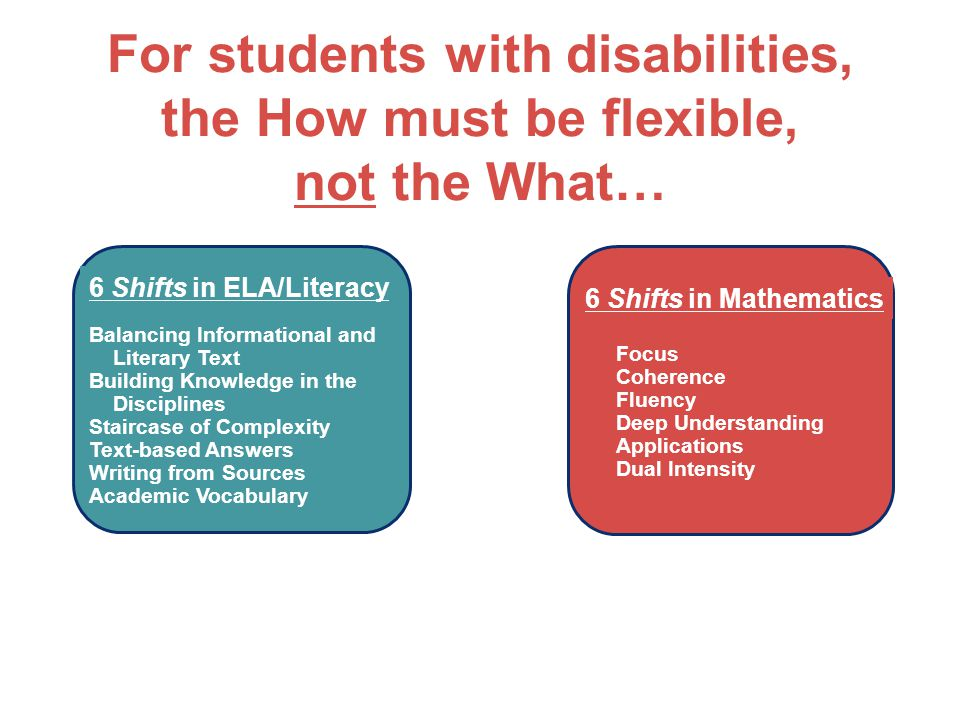 For students with disabilities, the How must be flexible, not the What…