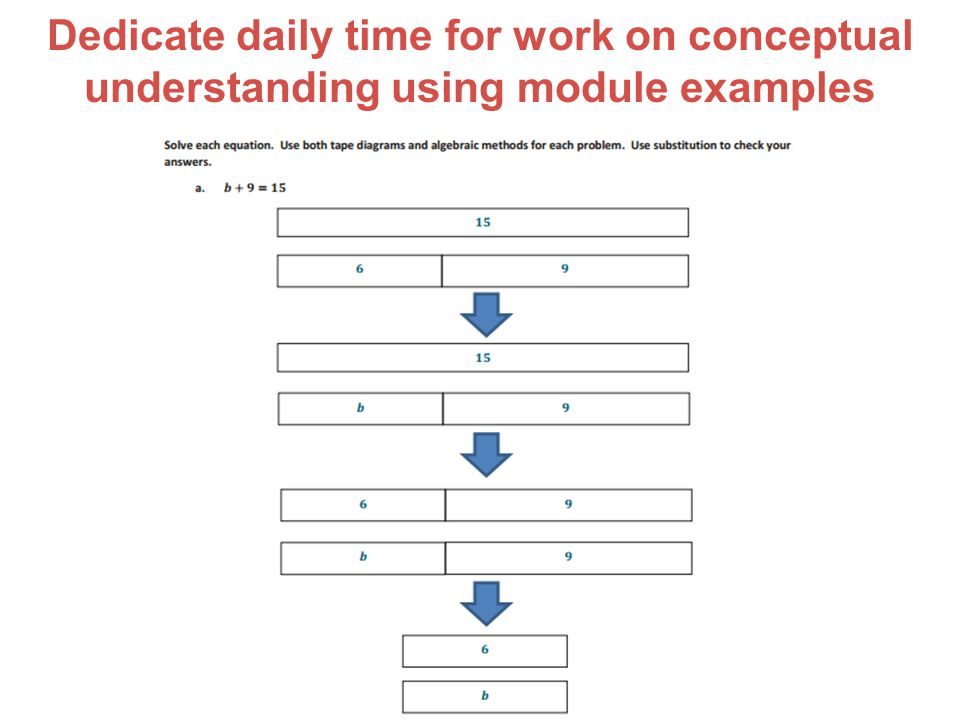 Dedicate daily time for work on conceptual understanding using module examples