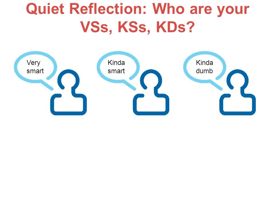 Quiet Reflection: Who are your VSs, KSs, KDs