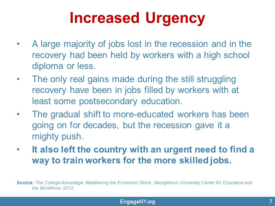 Increased Urgency A large majority of jobs lost in the recession and in the recovery had been held by workers with a high school diploma or less.