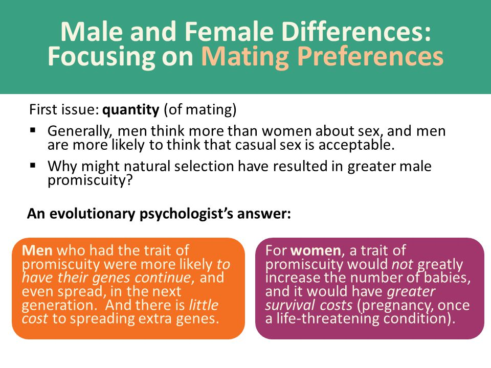 Male and Female Differences: Focusing on Mating Preferences