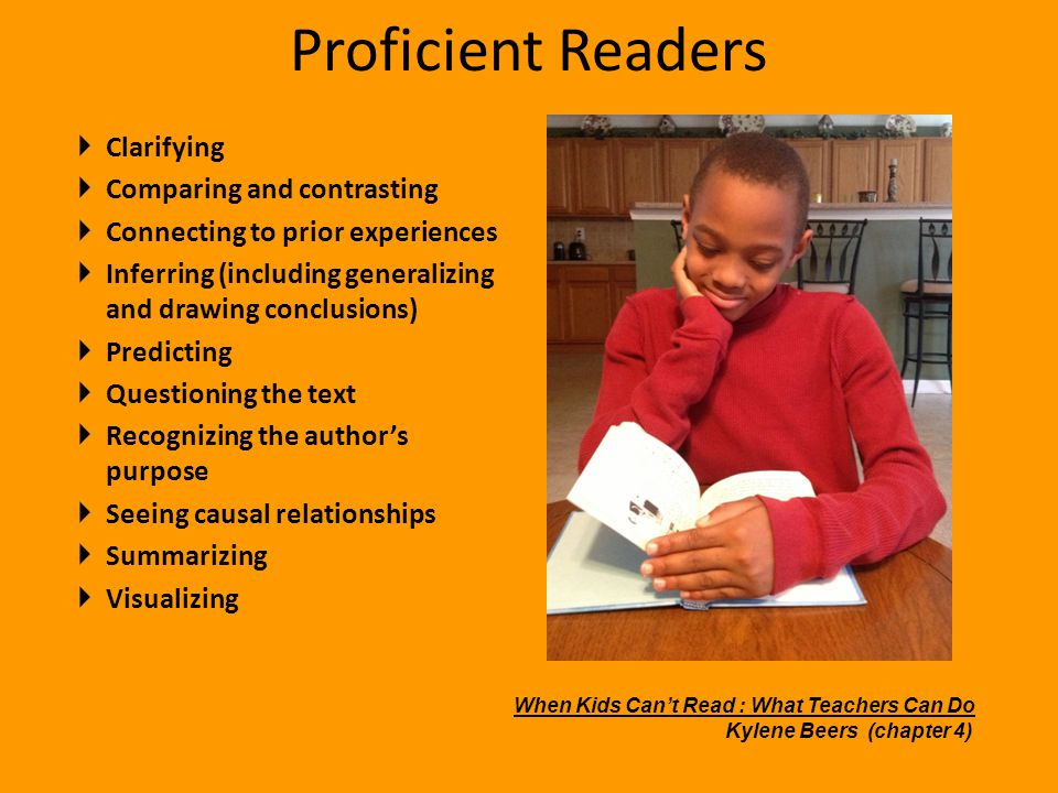 Proficient Readers Clarifying Comparing and contrasting