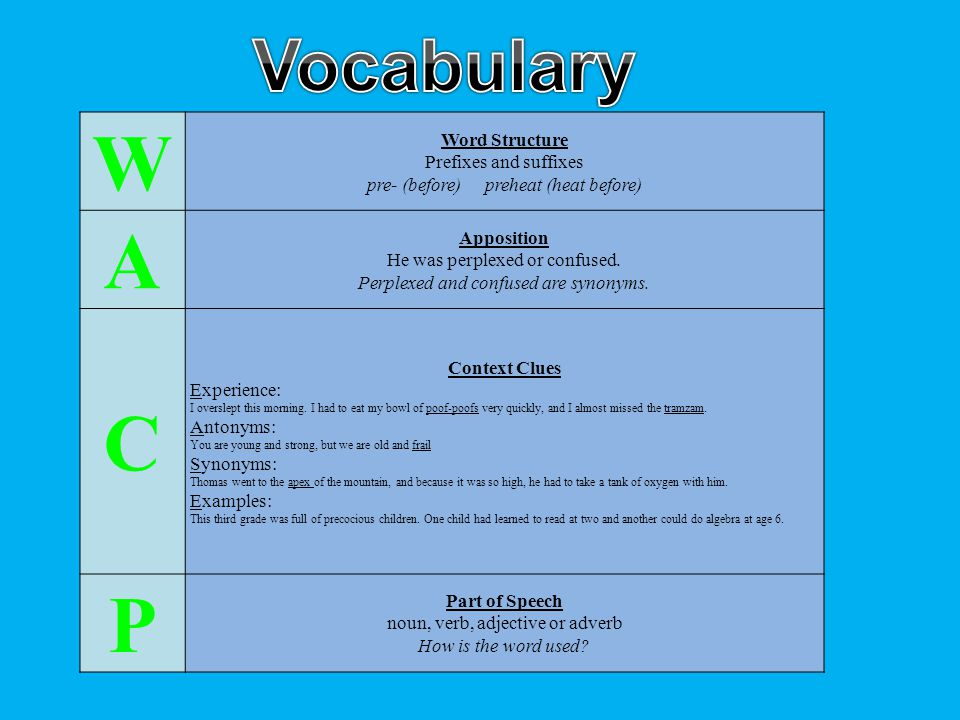 W A C P Vocabulary Word Structure Prefixes and suffixes