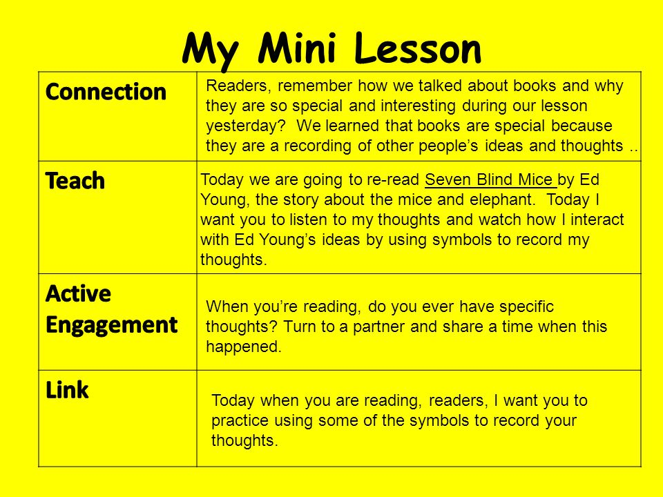 My Mini Lesson Connection Teach Active Engagement Link