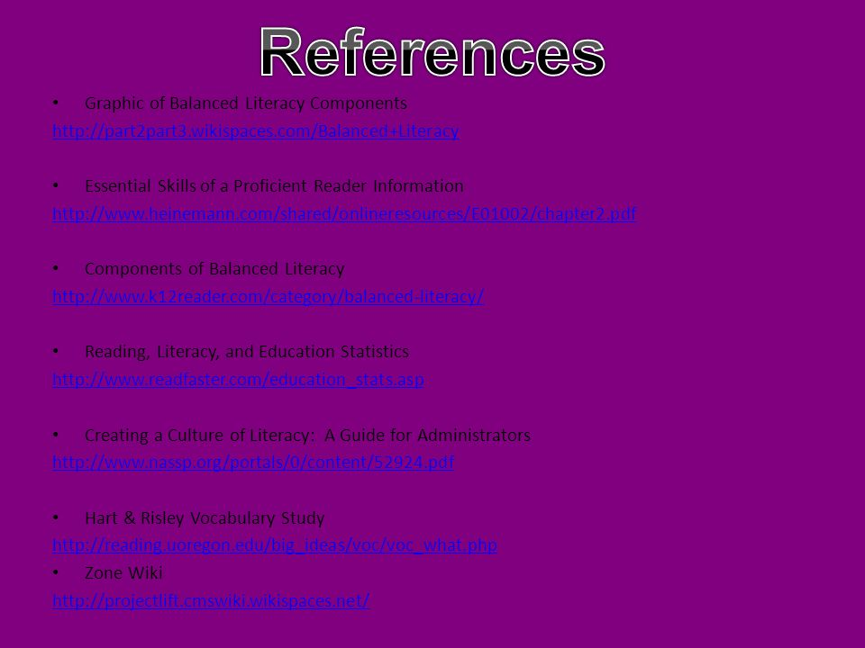 References Graphic of Balanced Literacy Components