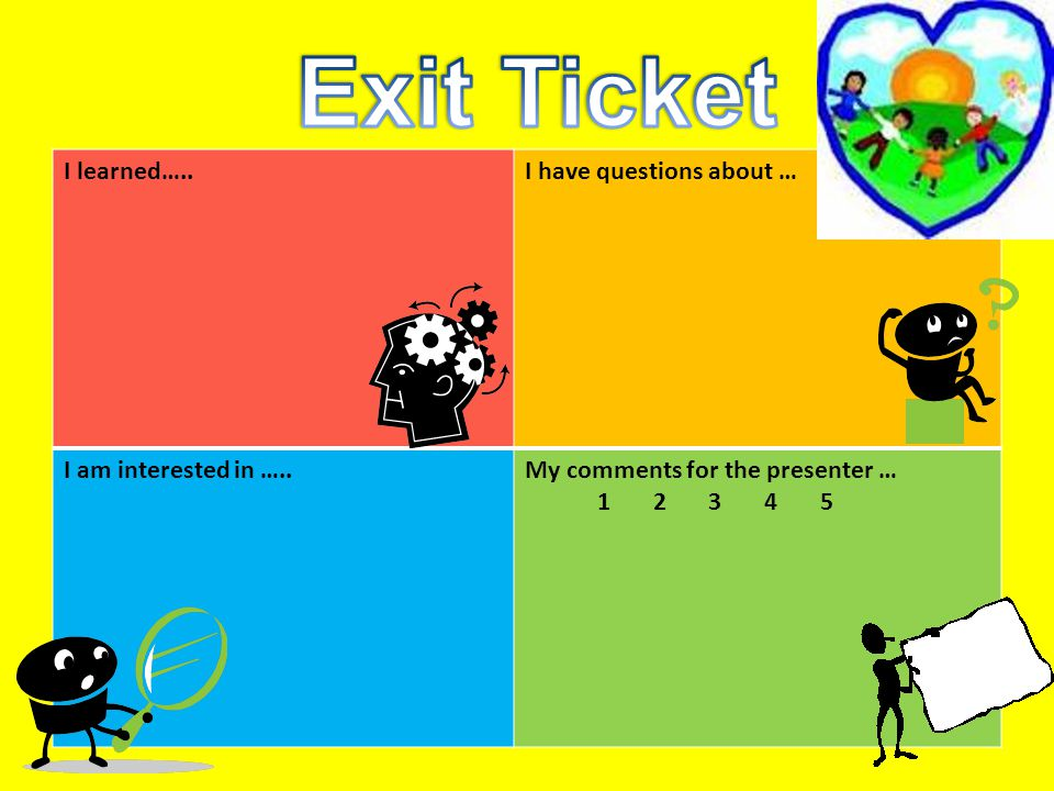 Exit Ticket I learned….. I have questions about …