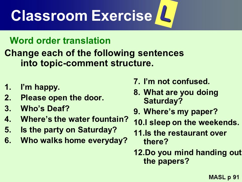 L Classroom Exercise Word order translation