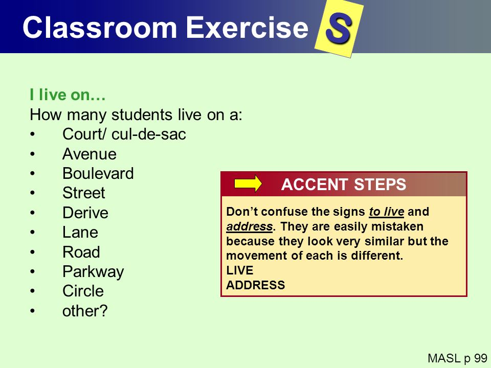 S Classroom Exercise I live on… How many students live on a: