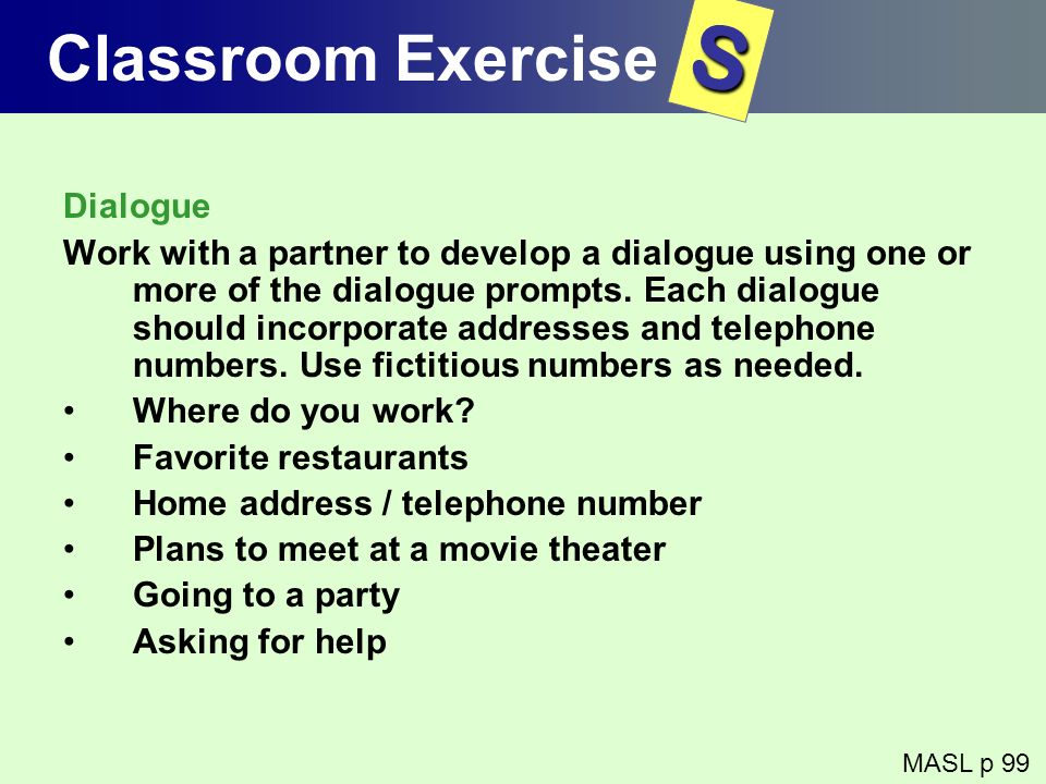 S Classroom Exercise Dialogue