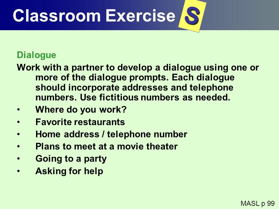 S Classroom Exercise Dialogue