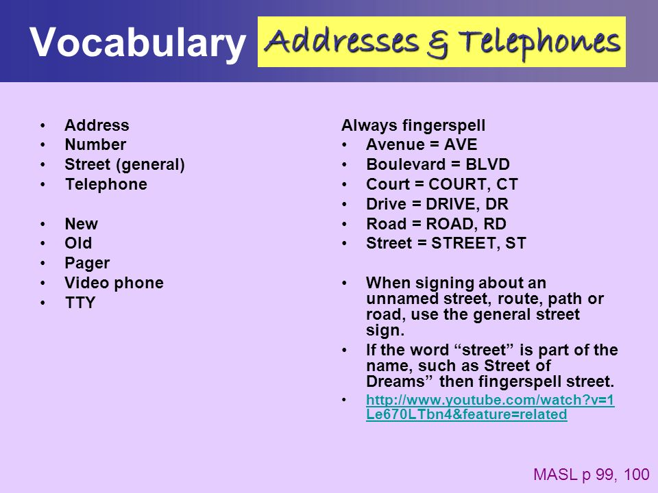 Vocabulary Addresses & Telephones Address Number Street (general)