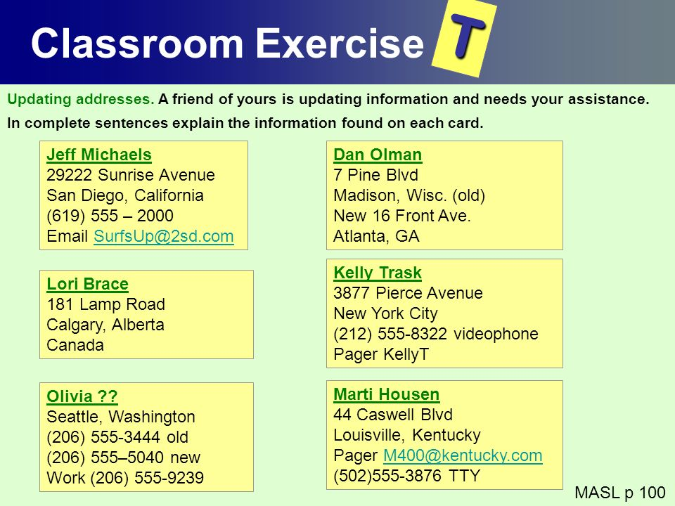 T Classroom Exercise Jeff Michaels 29222 Sunrise Avenue
