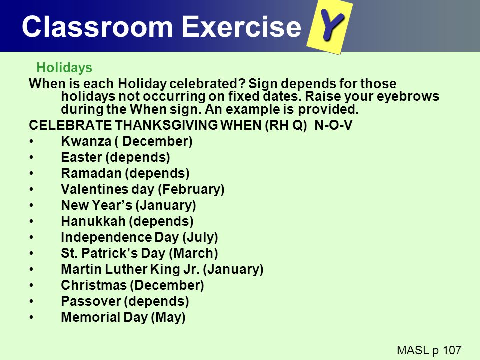 Y Classroom Exercise Holidays