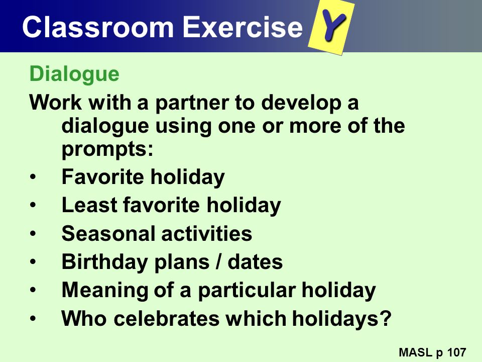 Y Classroom Exercise Dialogue