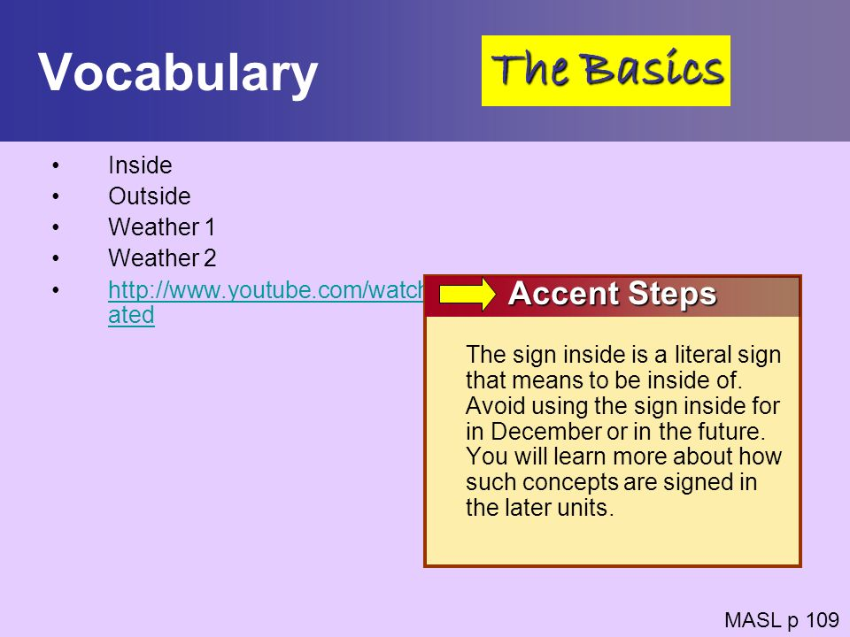 Vocabulary The Basics Accent Steps Inside Outside Weather 1 Weather 2