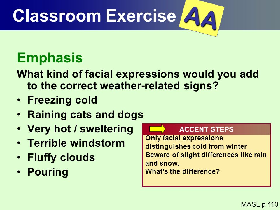 AA Classroom Exercise Emphasis