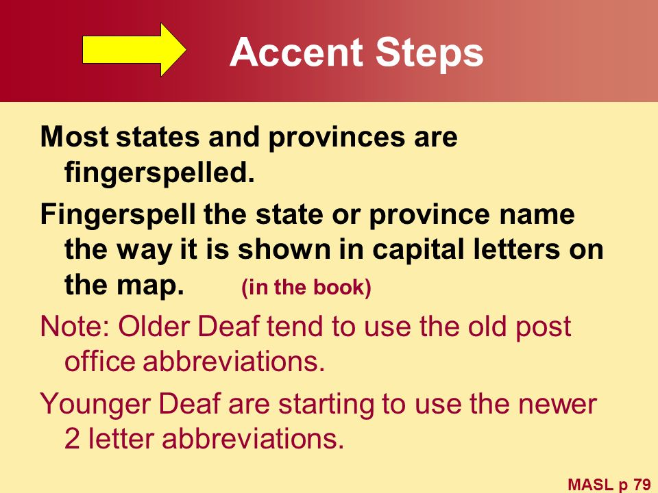 Accent Steps Most states and provinces are fingerspelled.