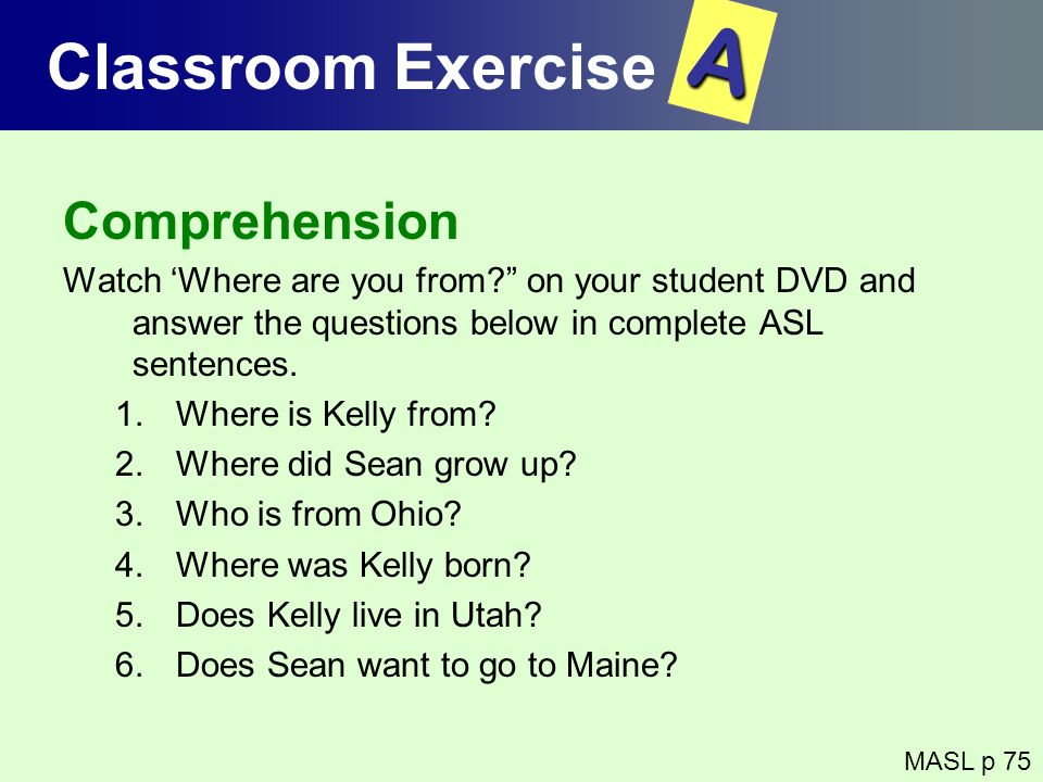 A Classroom Exercise Comprehension
