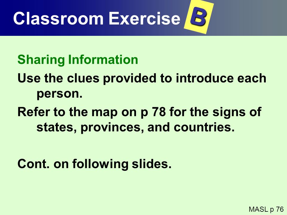 B Classroom Exercise Sharing Information