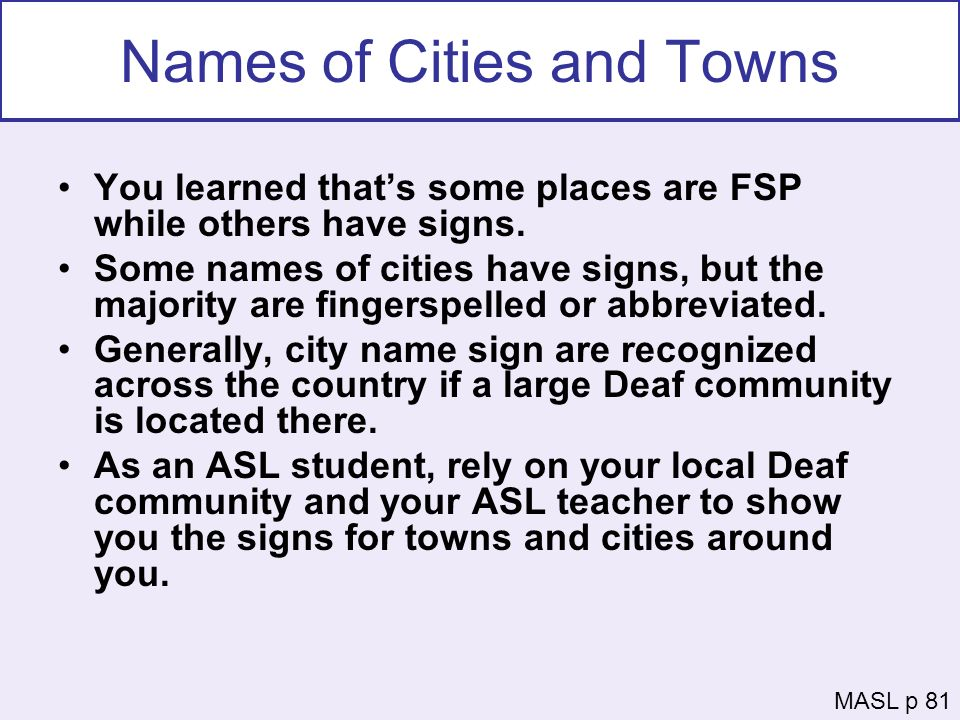Names of Cities and Towns