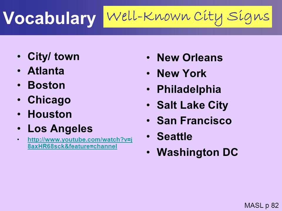 Vocabulary Well-Known City Signs City/ town Atlanta Boston Chicago