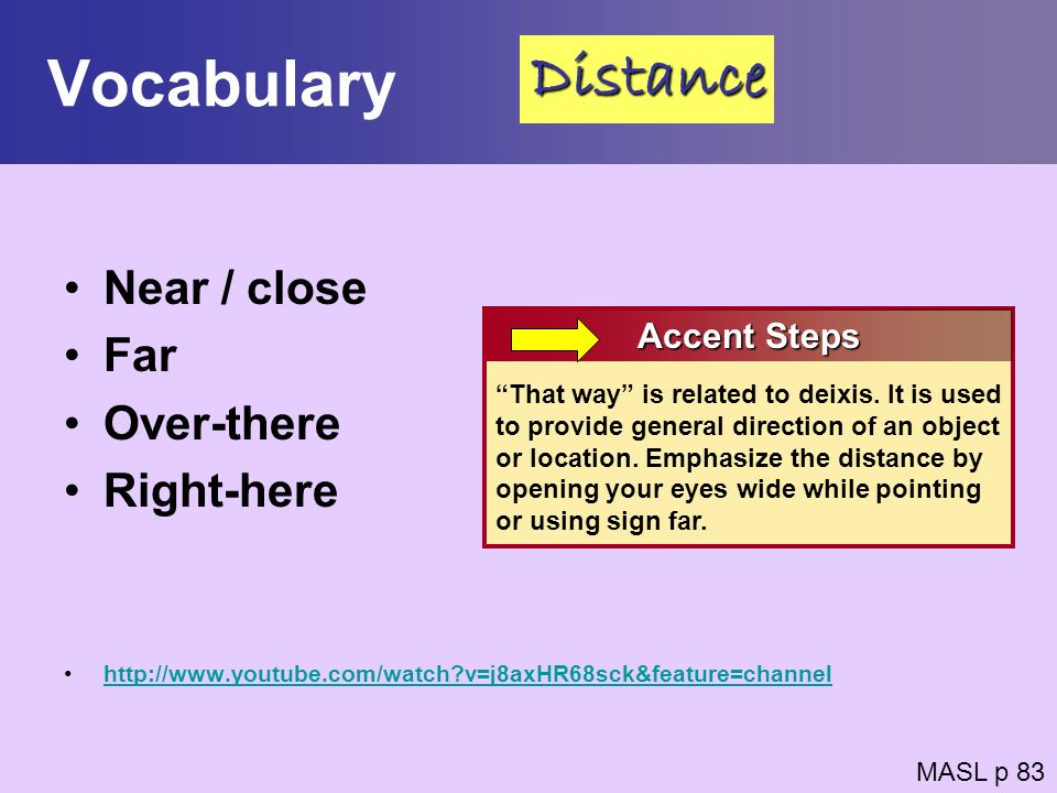 Vocabulary Distance Near / close Far Over-there Right-here