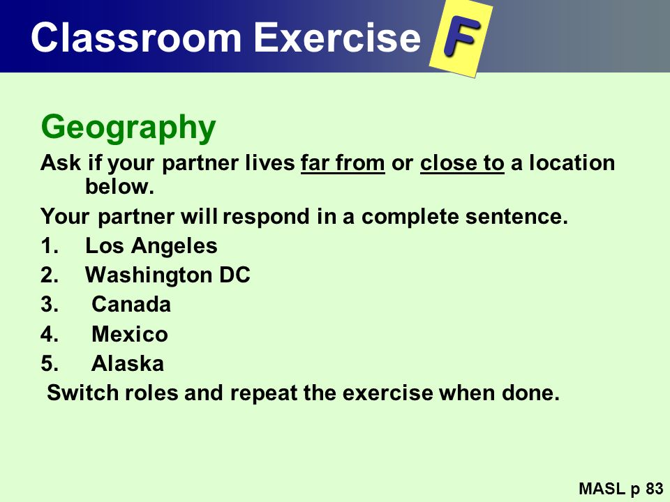 F Classroom Exercise Geography