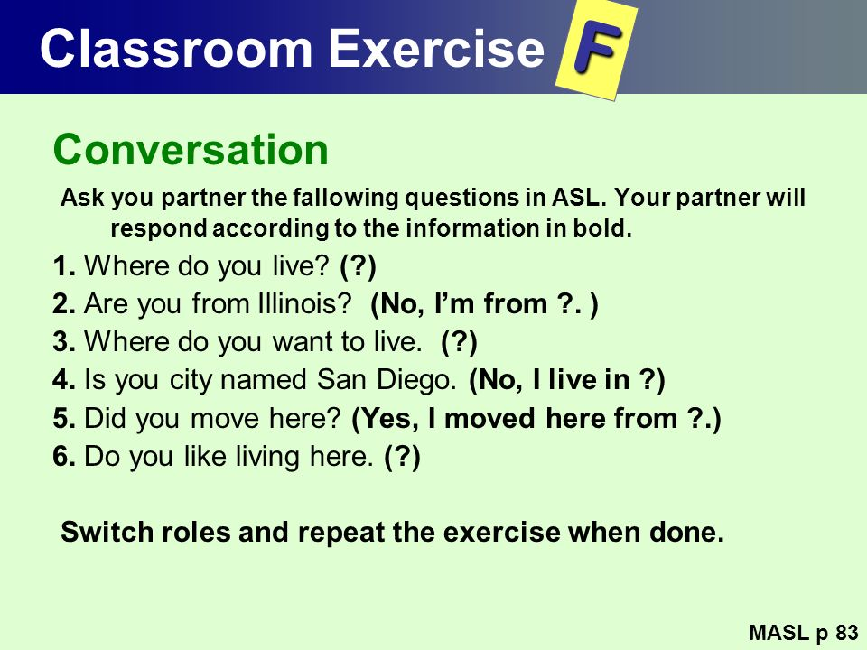 F Classroom Exercise Conversation