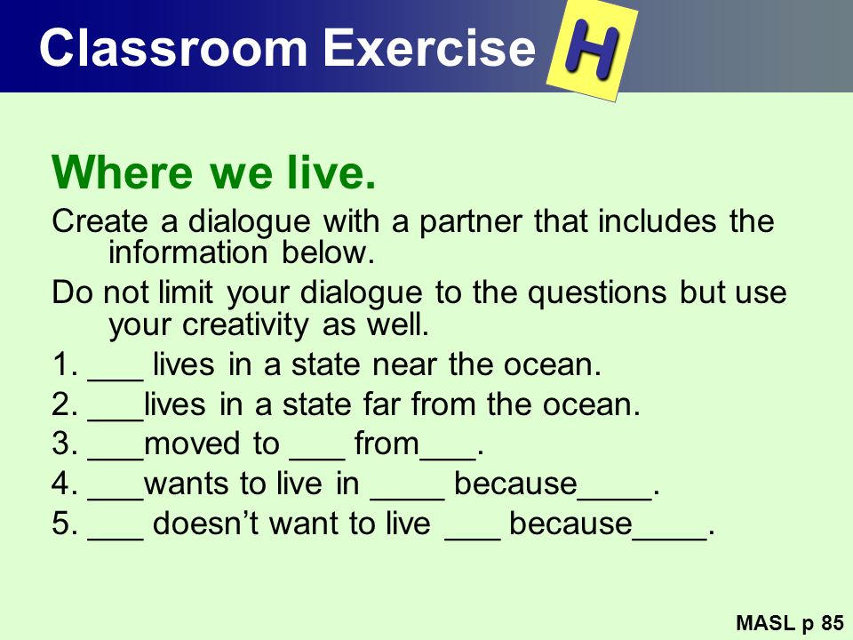 H Classroom Exercise Where we live.