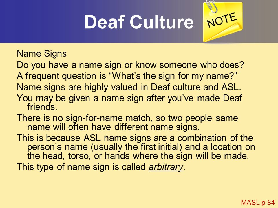 Deaf Culture NOTE Name Signs