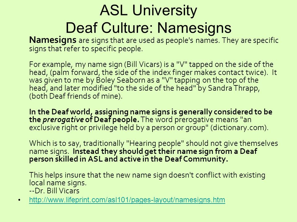 ASL University Deaf Culture: Namesigns