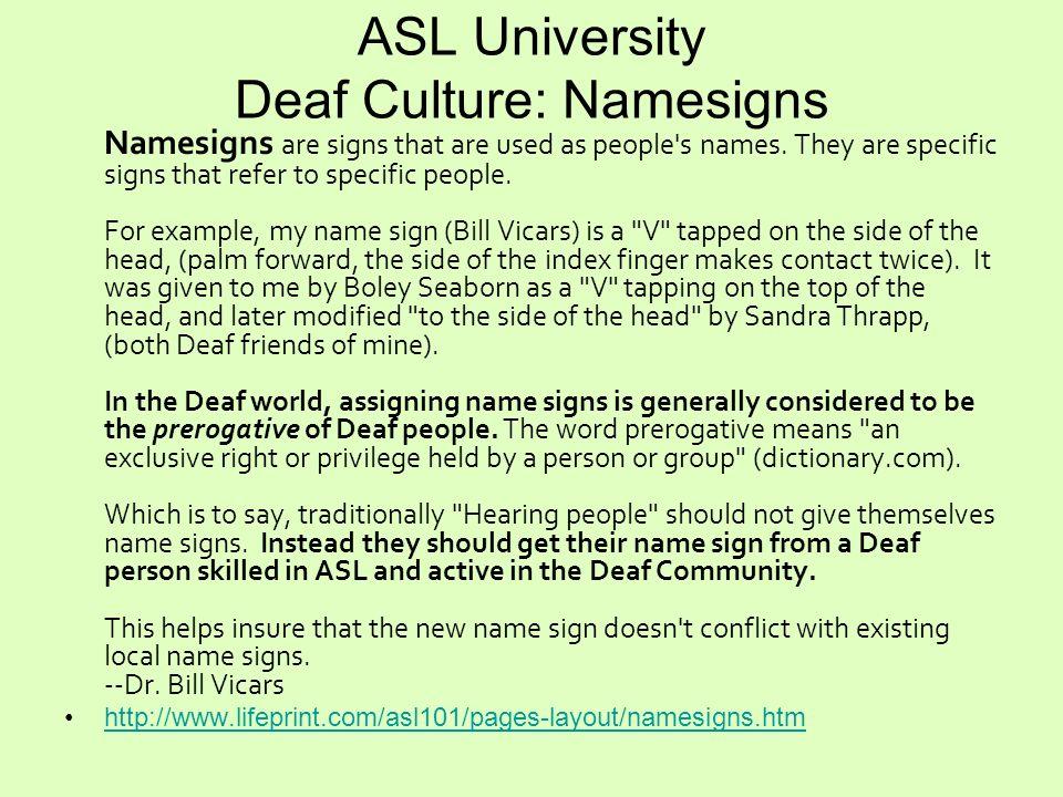 ASL University Deaf Culture: Namesigns