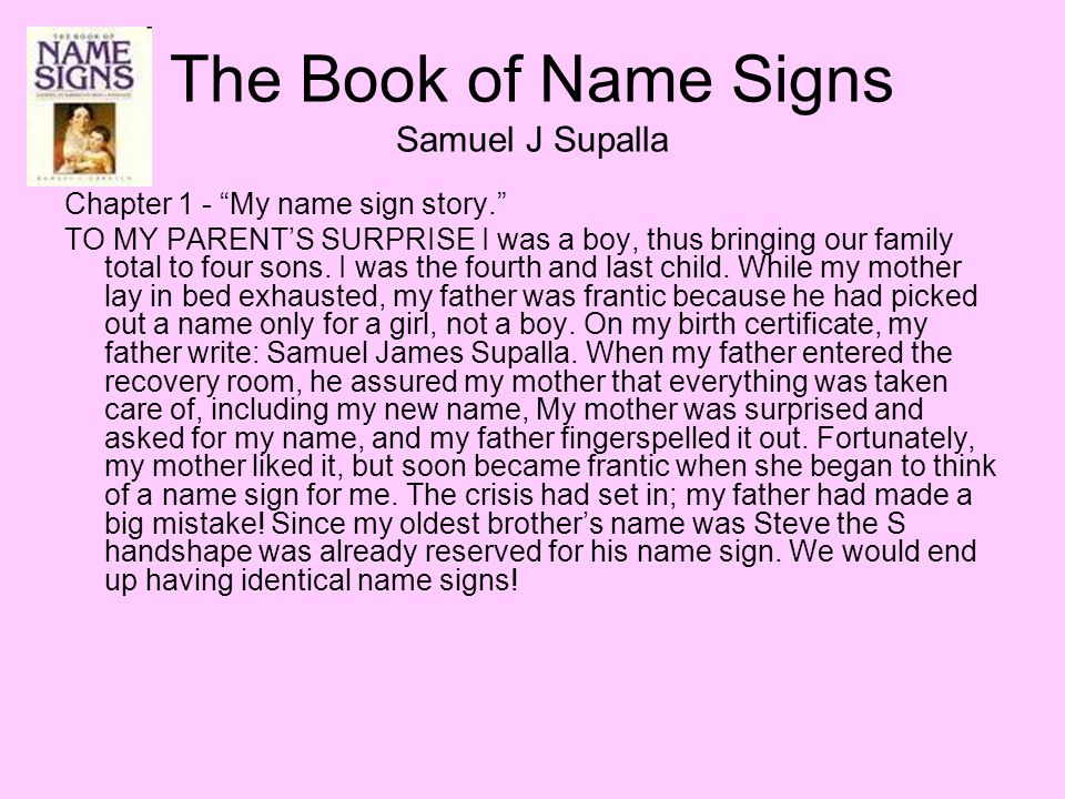 The Book of Name Signs Samuel J Supalla