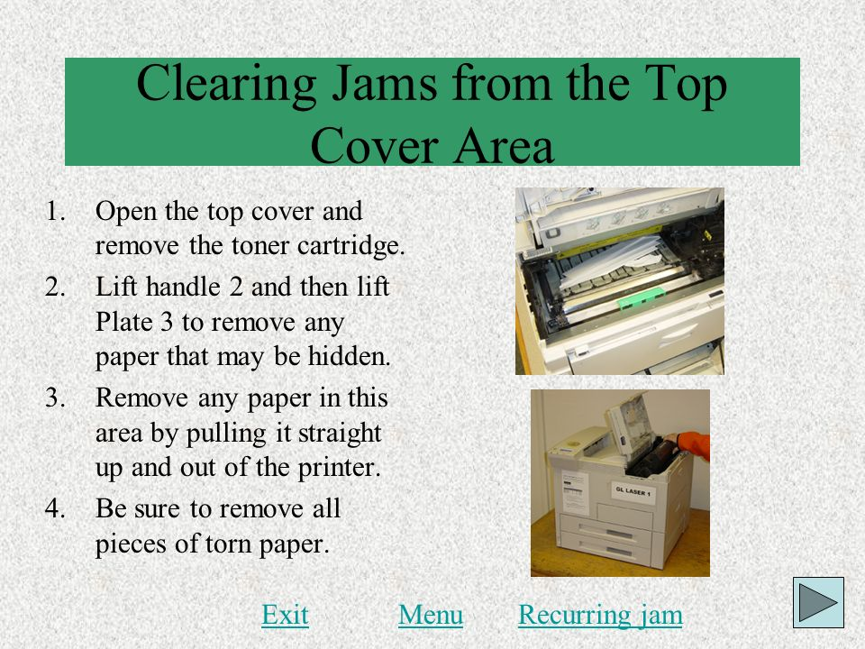 Clearing Jams from the Top Cover Area