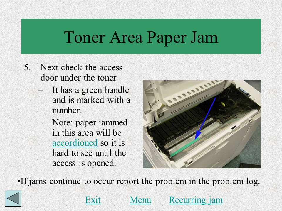 Toner Area Paper Jam Next check the access door under the toner