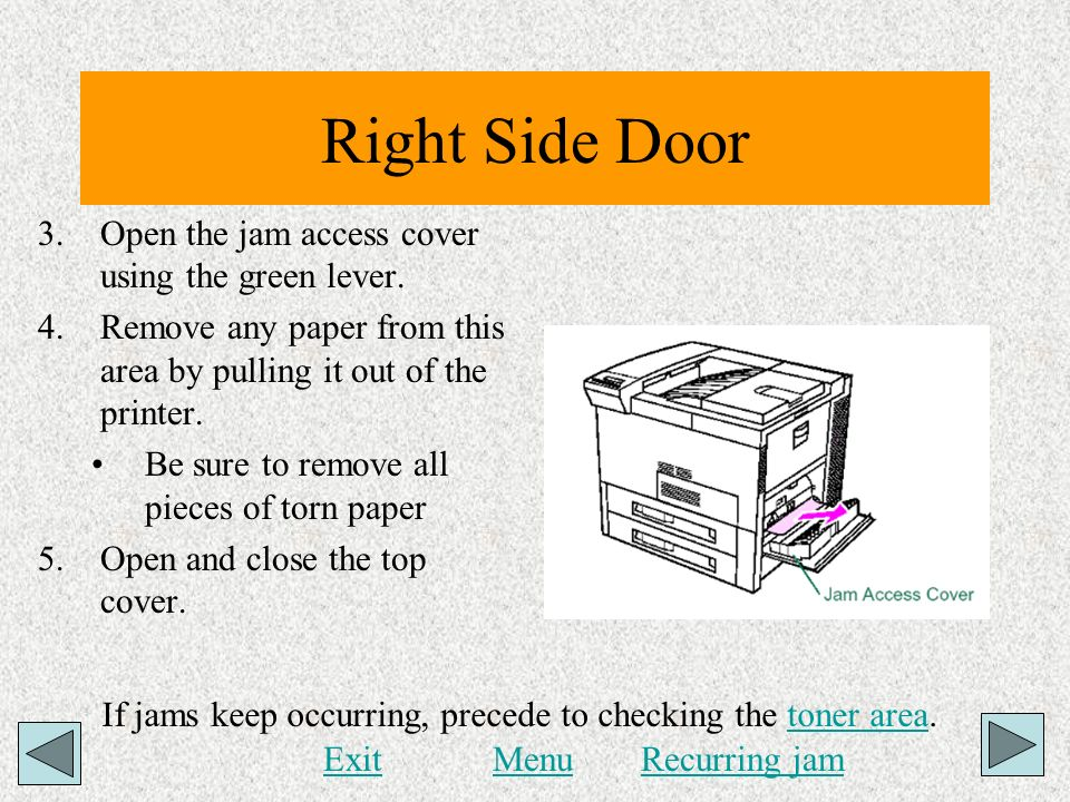 Right Side Door Open the jam access cover using the green lever.