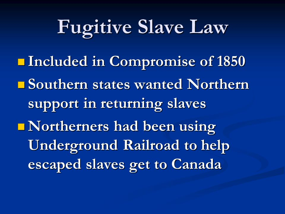 Fugitive Slave Law Included in Compromise of 1850