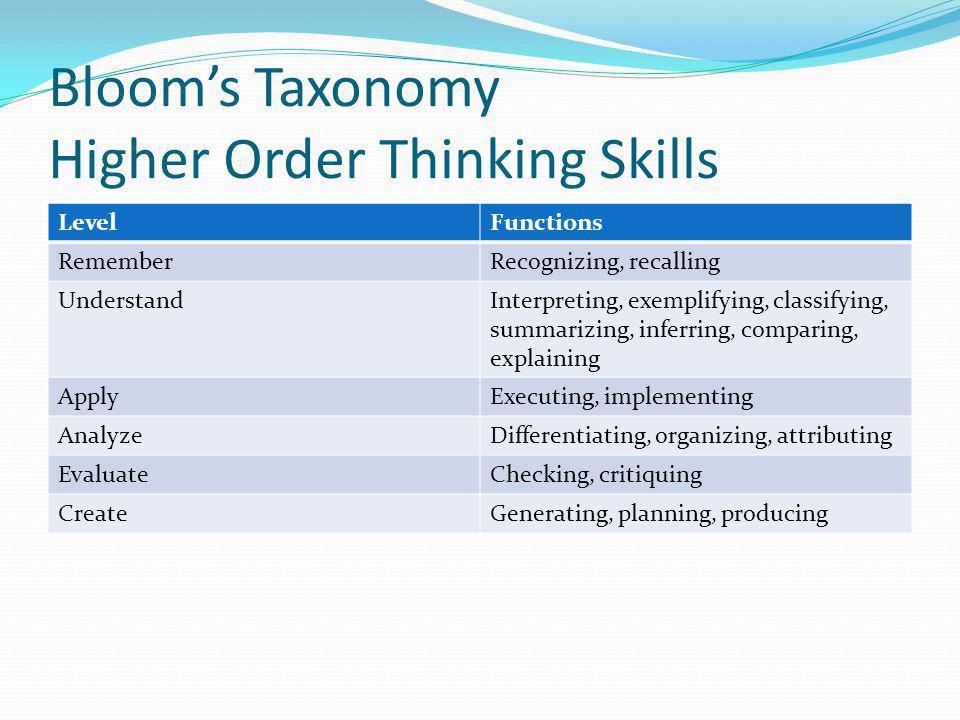 Bloom's Taxonomy Higher Order Thinking Skills