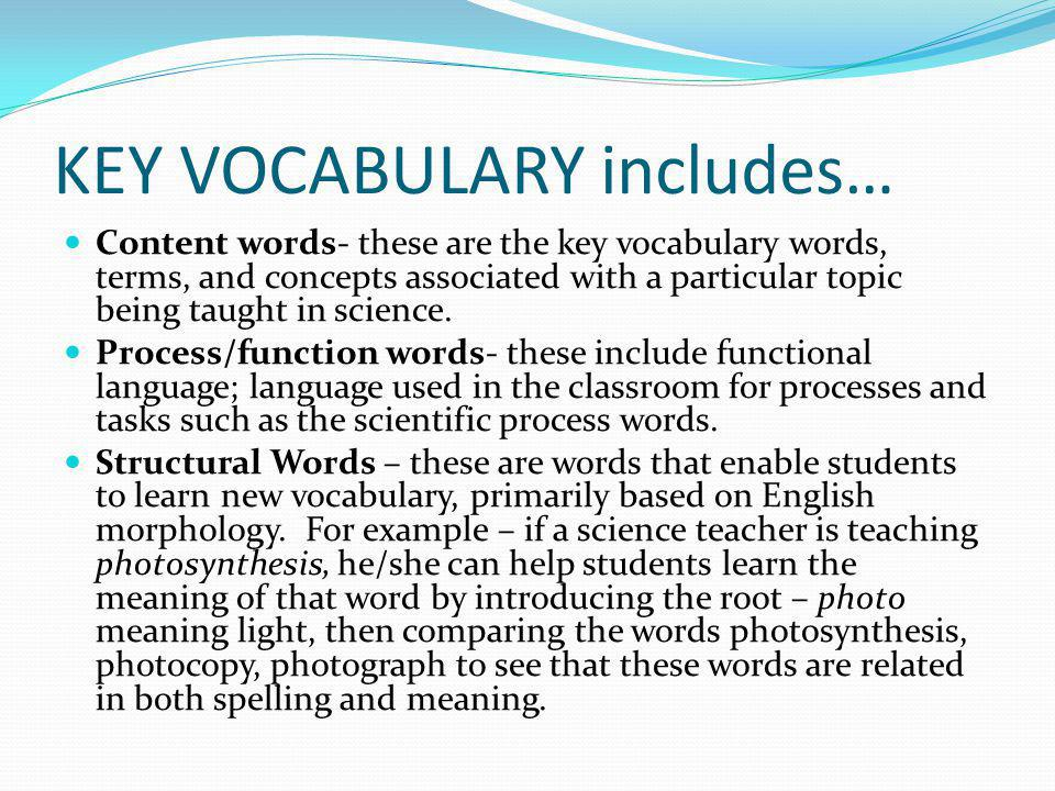 KEY VOCABULARY includes…