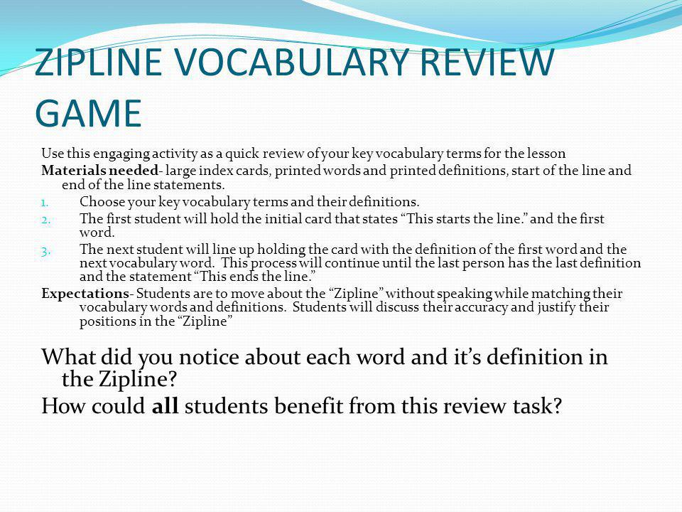 ZIPLINE VOCABULARY REVIEW GAME