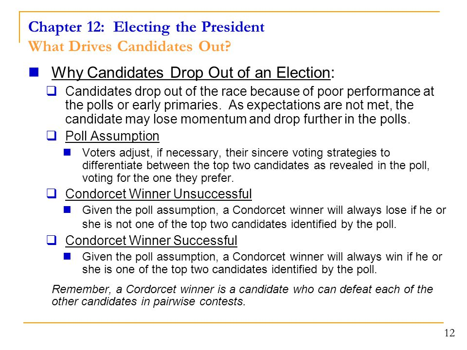 Chapter 12: Electing the President What Drives Candidates Out