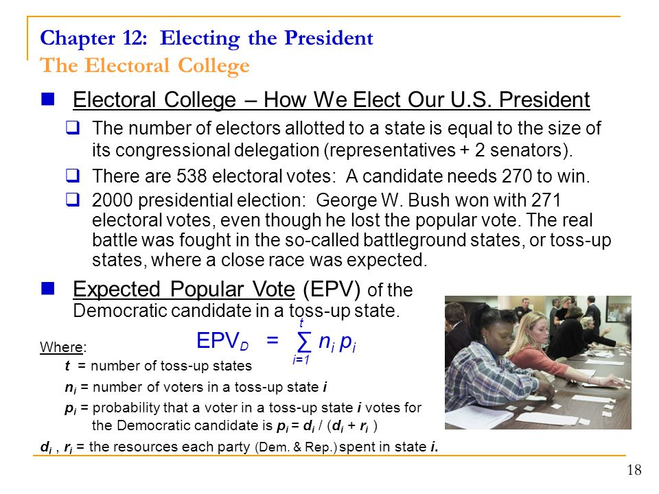 Chapter 12: Electing the President The Electoral College