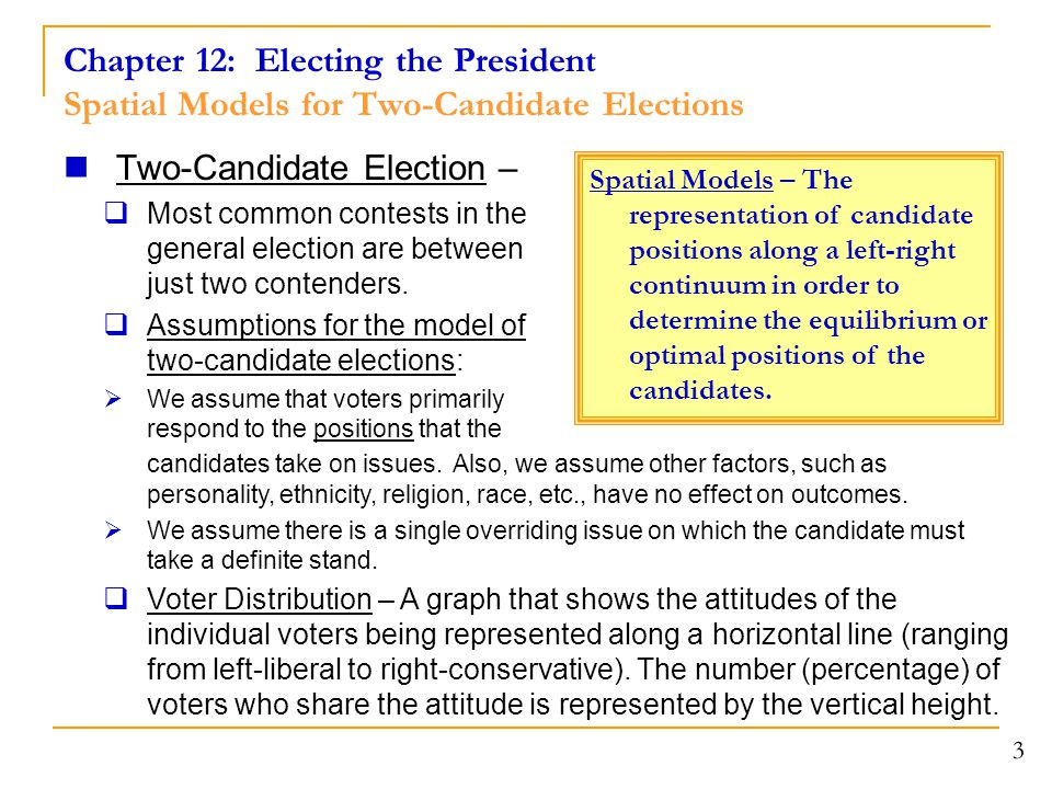 Chapter 12: Electing the President Spatial Models for Two-Candidate Elections