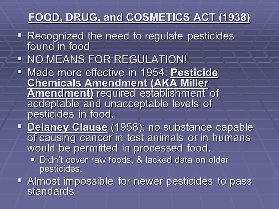 FOOD, DRUG, and COSMETICS ACT (1938)