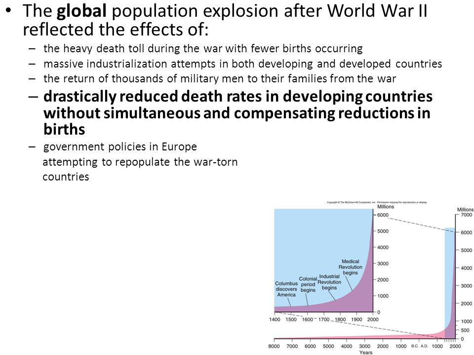 The global population explosion after World War II reflected the effects of: