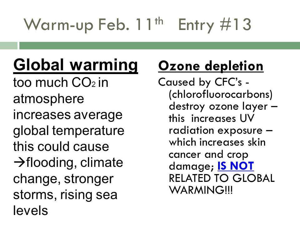 Warm-up Feb. 11th Entry #13 Global warming Ozone depletion