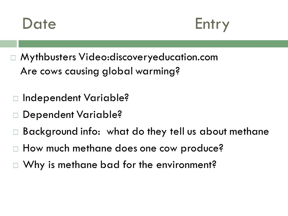 Date Entry Mythbusters Video:discoveryeducation.com Are cows causing global warming Independent Variable