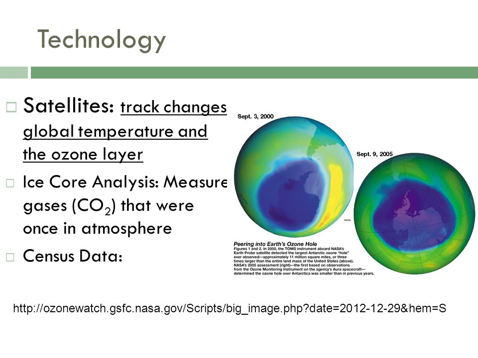 Technology Satellites: track changes global temperature and the ozone layer. Ice Core Analysis: Measure gases (CO2) that were once in atmosphere.
